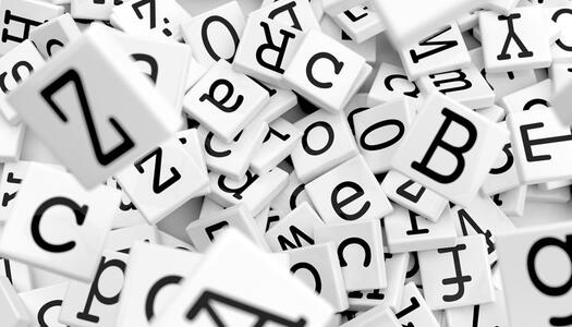 Würfel mit Buchstaben